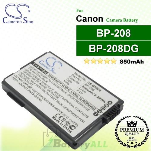 CS-BP208 For Canon Camera Battery Model BP-208 / BP-208DG