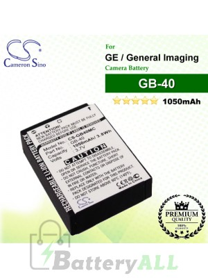 CS-GB40MC For GE Camera Battery Model GB-40