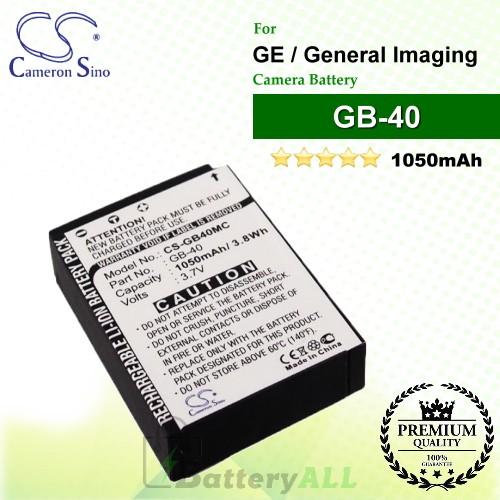 CS-GB40MC For GE Camera Battery Model GB-40