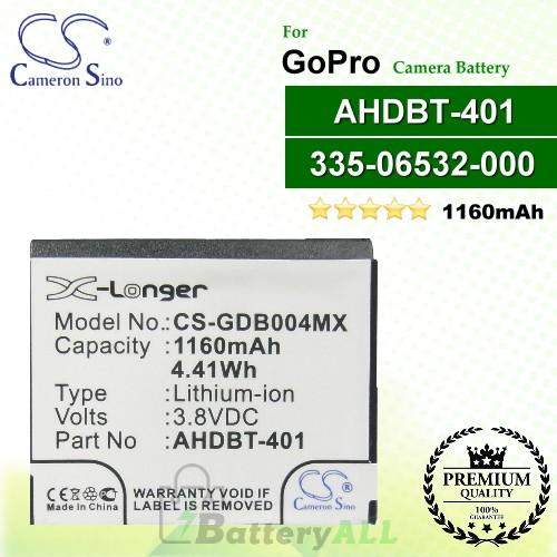 CS-GDB004MX For GoPro Camera Battery Model 335-06532-000 / AHDBT-401