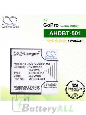 CS-GDB501MX For GoPro Camera Battery Model AHDBT-501
