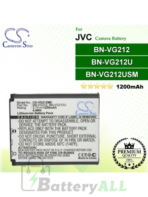 CS-VG212MC For JVC Camera Battery Model BN-VG212 / BN-VG212U / BN-VG212USM