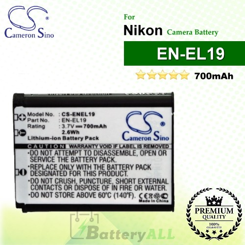 CS-ENEL19 For Nikon Camera Battery Model EN-EL19