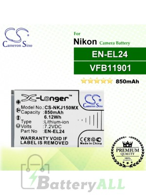 CS-NKJ150MX For Nikon Camera Battery Model EN-EL24 / VFB11901