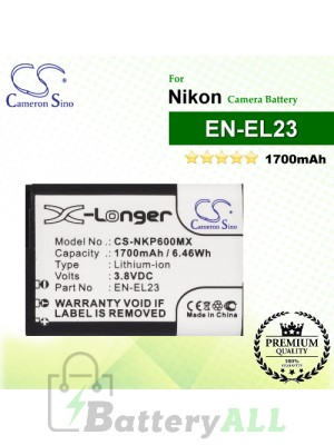 CS-NKP600MX For Nikon Camera Battery Model EN-EL23