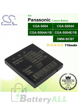 CS-BCB7 For Panasonic Camera Battery Model CGA-S004 / CGA-S004A / CGA-S004A/1B / CGA-S004E/1B / DMW-BCB7