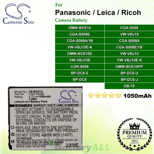 CS-BCE10 For Panasonic Camera Battery Model CGA-S008 / CGA-S008A / CGA-S008A/1B / CGA-S008E / CGA-S008E/1B / DMW-BCE10 / DMW-BCE10E / RP-BP70L / VW-VBJ10 / VW-VBJ10E-K