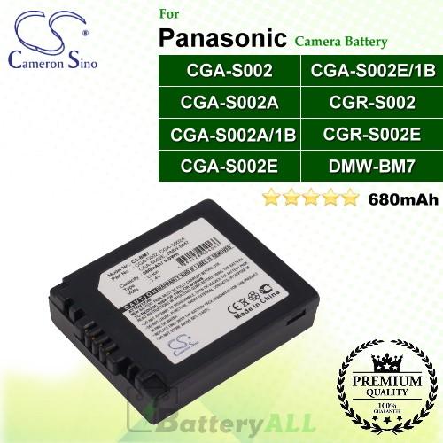 CS-BM7 For Panasonic Camera Battery Model CGA-S002 / CGA-S002A / CGA-S002A/1B / CGA-S002E / CGA-S002E/1B / CGR-S002 / CGR-S002E / DMW-BM7