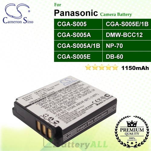 CS-NP70FU For Panasonic Camera Battery Model CGA-S005 / CGA-S005A / CGA-S005A/1B / CGA-S005E / CGA-S005E/1B / DMW-BCC12
