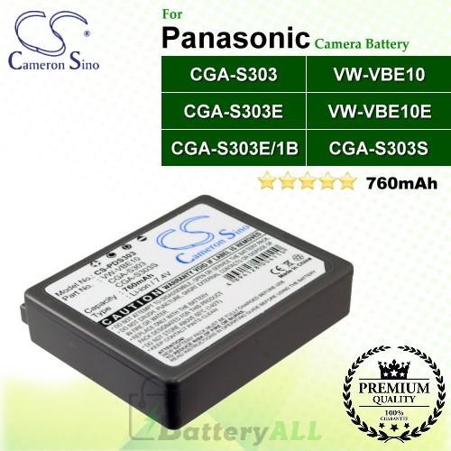 CS-PDS303 For Panasonic Camera Battery Model CGA-S303 / CGA-S303E / CGA-S303E/1B / VW-VBE10