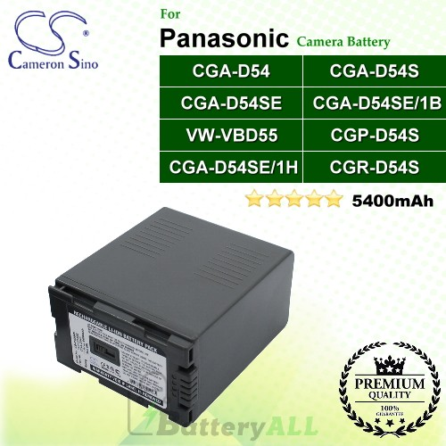 CS-PVD54S For Panasonic Camera Battery Model CGA-D54 / CGA-D54S / CGA-D54SE / CGA-D54SE/1B / CGA-D54SE/1H / CGP-D54S / CGR-D54S / VW-VBD55
