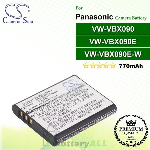 CS-PWA200MC For Panasonic Camera Battery Model VW-VBX090 / VW-VBX090E / VW-VBX090E-W