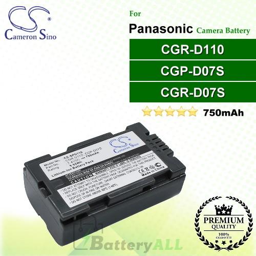 CS-SPD110 For Panasonic Camera Battery Model CGP-D07S / CGR-D11O