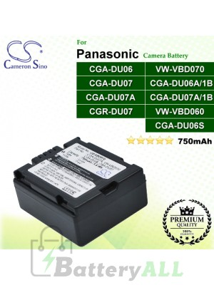 CS-VBD070 For Panasonic Camera Battery Model CGA-DU06 / CGA-DU06A/1B / CGA-DU06S / CGA-DU07 / CGA-DU07A / CGA-DU07A/1B / CGR-DU07 / VW-VBD060 / VW-VBD070