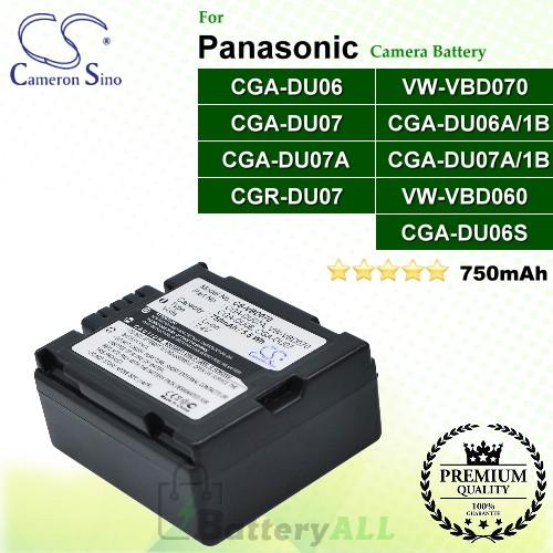 CS-VBD070 For Panasonic Camera Battery Model CGA-DU06 / CGA-DU06A/1B / CGA-DU06S / CGA-DU07 / CGA-DU07A / CGA-DU07A/1B / CGR-DU07 / VW-VBD060 / VW-VBD070