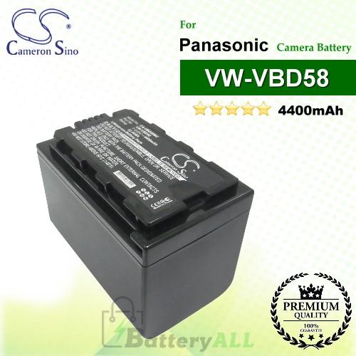 CS-VBD58MC For Panasonic Camera Battery Model VW-VBD29 / VW-VBD58 / VW-VBD58E-K / VW-VBD58PPK