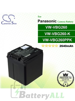CS-VBG260 For Panasonic Camera Battery Model VW-VBG260 / VW-VBG260-K / VW-VBG260PPK