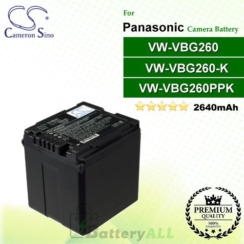 CS-VBG260 For Panasonic Camera Battery Model VW-VBG260 / VW-VBG260-K / VW-VBG260PPK