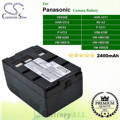CS-VBS20E For Panasonic Camera Battery Model HHR-V211 / HHR-V212 / NVA3 / NV-A3 / P-V211 / P-V212 / VBS20E / VSB-0190 / VSB-0200 / VW-VBH10E / VW-VBS10 / VW-VBS10E / VW-VBS20