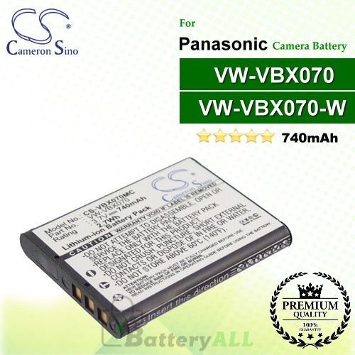 CS-VBX070MC For Panasonic Camera Battery Model VW-VBX070 / VW-VBX070GK / VW-VBX070-W