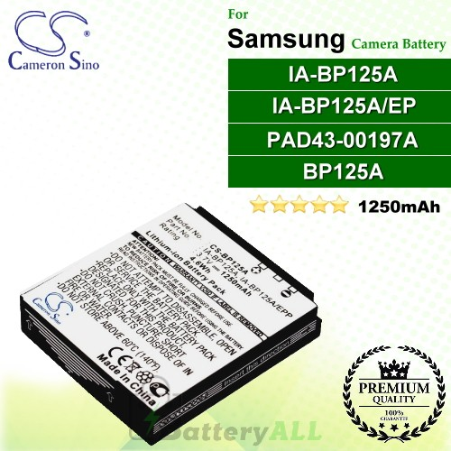 CS-BP125A For Samsung Camera Battery Model AD43-00197A / BP125A / IA-BP125 / IA-BP125A / IA-BP125A/EPP / IA-BP125EPP