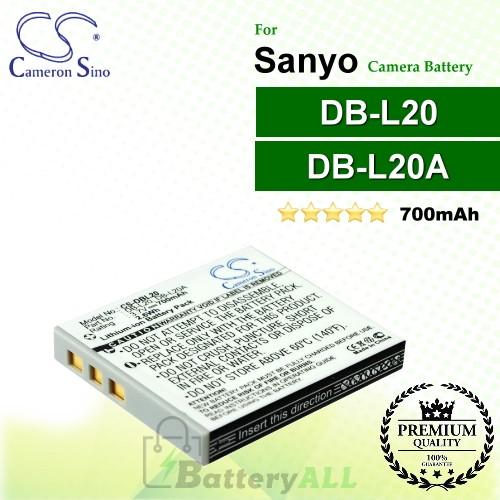 CS-DBL20 For Sanyo Camera Battery Model DB-L20 / DB-L20A
