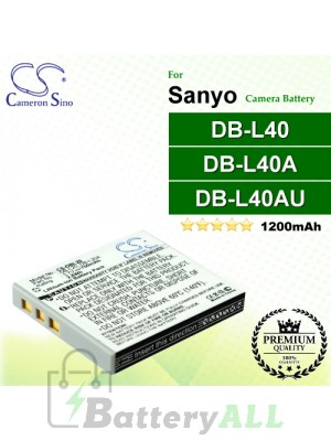 CS-DBL40 For Sanyo Camera Battery Model DB-L40 / DB-L40A / DB-L40AU