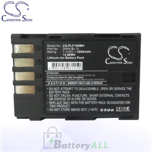 CS Battery for Panasonic Lumix DMC-GH3HGK / DMC-GH3KBODY Battery 2000mah CA-PLF190MH