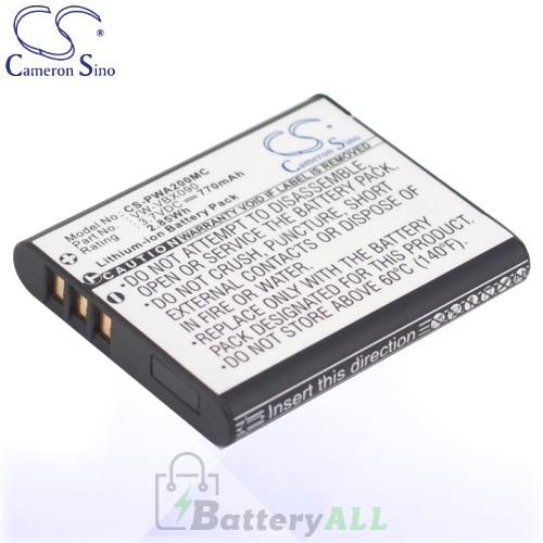 CS Battery for Panasonic VW-VBX090E / VW-VBX090E-W Battery 770mah CA-PWA200MC