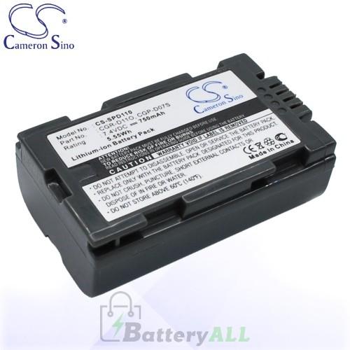 CS Battery for Panasonic CGP-D07S / CGR-D11O / CGR-D08A/1B Battery 750mah CA-SPD110