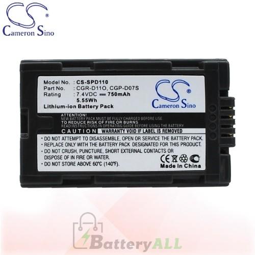 CS Battery for Panasonic PV-BP8 / PV-DV100 / PV-DV200 Battery 750mah CA-SPD110