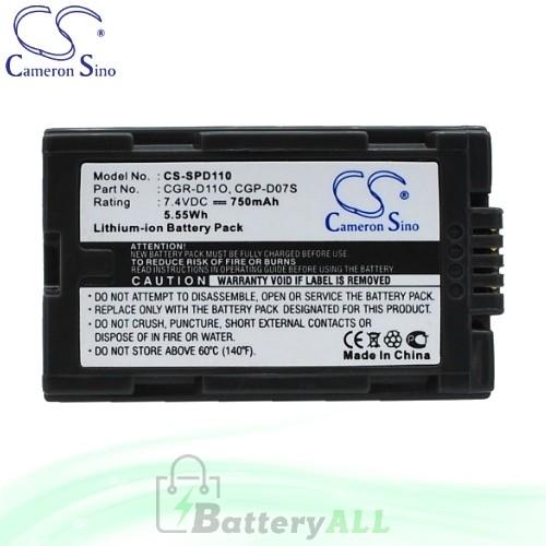 CS Battery for Panasonic PV-DV710 / NV-MX300EG Battery 750mah CA-SPD110