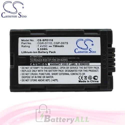 CS Battery for Panasonic NV-DS55 / NV-DS77B / NV-DS99 Battery 750mah CA-SPD110