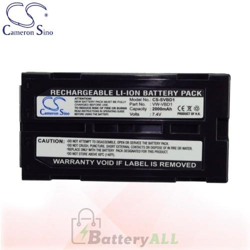 CS Battery for Panasonic NV-GS37E-S / NV-GS35 / NV-GS38GK Battery 2000mah CA-SVBD1