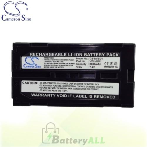 CS Battery for Panasonic NV-GS75B / NV-GS75EG-S / NV-GS78GK Battery 2000mah CA-SVBD1