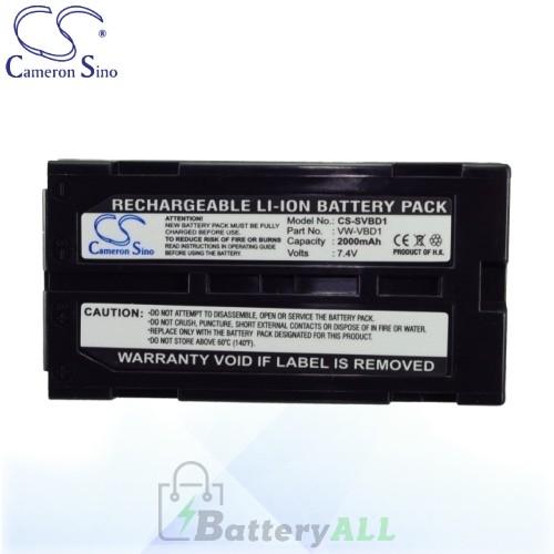 CS Battery for Panasonic VDR-D100 / VDR-D100EB-S / VDR-D150 Battery 2000mah CA-SVBD1