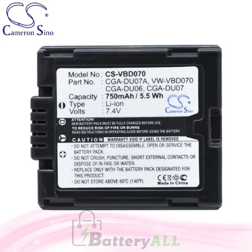 CS Battery for Panasonic NV-GS180EB-S / NV-GS180EG-S Battery 750mah CA-VBD070