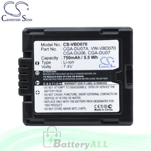 CS Battery for Panasonic NV-GS10EG-R / NV-GS10EG-S / NV-GS30 Battery 750mah CA-VBD070