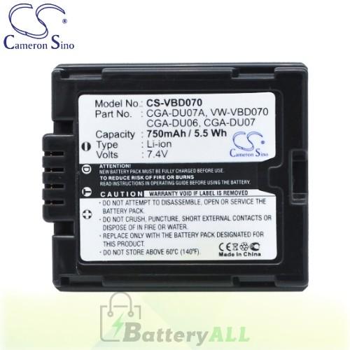 CS Battery for Panasonic NV-GS150EG-S / NV-GS150E-S / NV-GS35 Battery 750mah CA-VBD070
