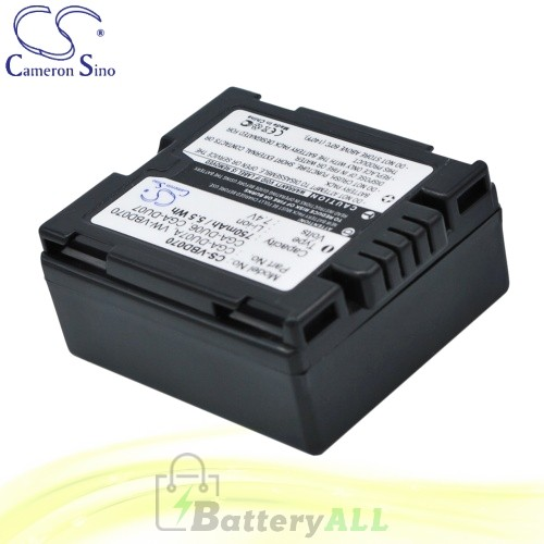 CS Battery for Panasonic NV-GS180EF-S / NV-GS180E-S / NV-GS40 Battery 750mah CA-VBD070