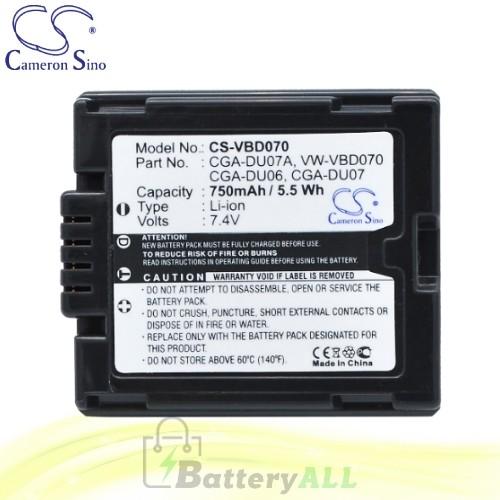 CS Battery for Panasonic NV-GS200GN / NV-GS21 / NV-GS21E-S Battery 750mah CA-VBD070