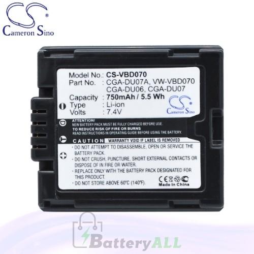 CS Battery for Panasonic NV-GS60EG-S / NV-GS70A-S / NV-GS70B Battery 750mah CA-VBD070