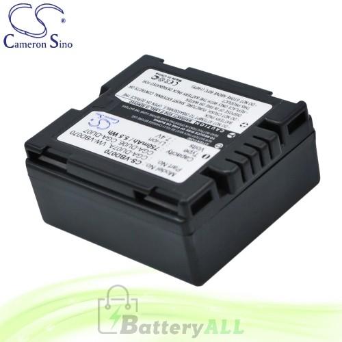 CS Battery for Panasonic NV-GS70K / NV-GS78GK / NV-GS80EB-S Battery 750mah CA-VBD070