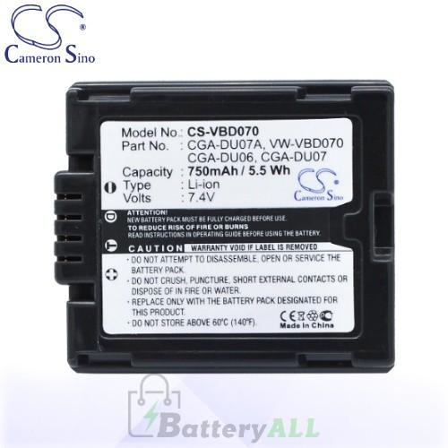 CS Battery for Panasonic NV-GS27EB-S / NV-GS27EF-S / NV-GS37 Battery 750mah CA-VBD070