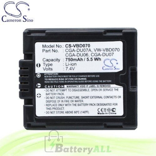 CS Battery for Panasonic PV-GS31 / PV-GS35 / PV-GS36 Battery 750mah CA-VBD070