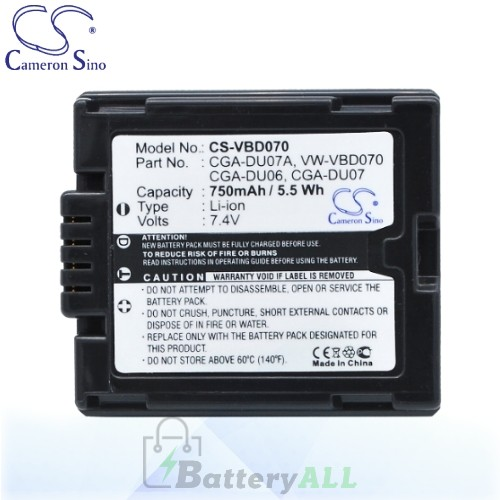 CS Battery for Panasonic VDR-D150EG-S / VDR-D158GK / VDR-D200 Battery 750mah CA-VBD070
