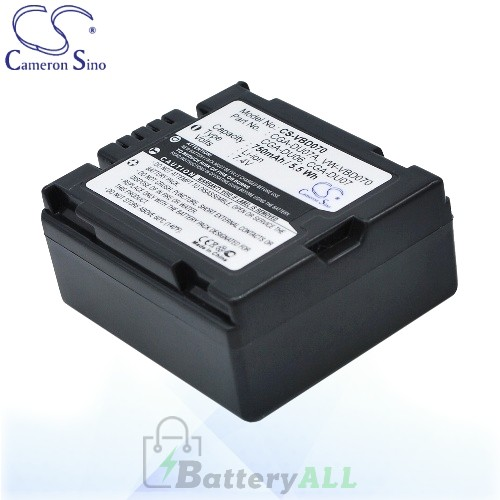 CS Battery for Panasonic VDR-M70PP / VDR-M75 / DR-M50B Battery 750mah CA-VBD070