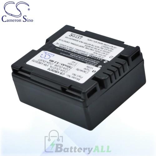 CS Battery for Panasonic VDR-D158GK / VDR-D160EB-S / VDR-D160 Battery 750mah CA-VBD070
