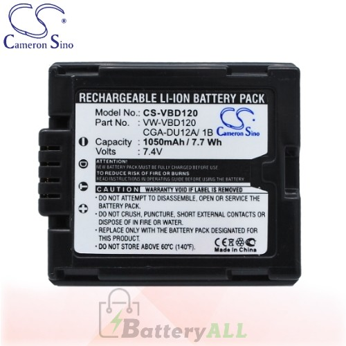 CS Battery for Panasonic NV-GS10EGS / NV-GS120 / NV-GS120B Battery 1050mah CA-VBD120