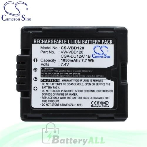 CS Battery for Panasonic NV-GS200 / NV-GS200B / NV-GS200K Battery 1050mah CA-VBD120